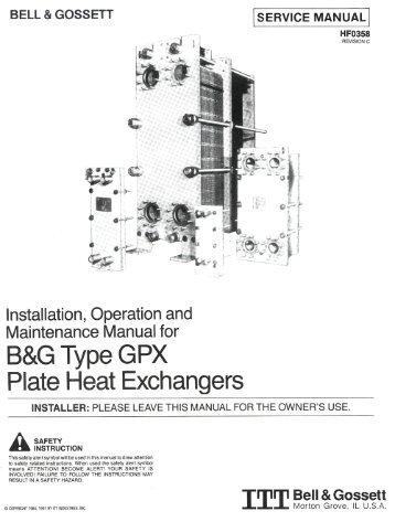 Bell & Gossett Heat Exchangers - Department of Chemical ...