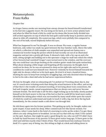 kafkas metamorphoses essay The metamorphosis franz kafka table of contents plot overview summary & analysis part the 10 most important tips for writing the perfect common app essay.