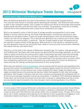 2013 Millennial Workplace Trends Survey - IdeaPaint