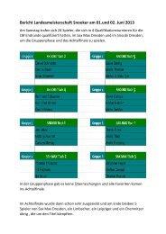 Bericht Landesmeisterschaft Snooker am 01.und 02. Juni 2013