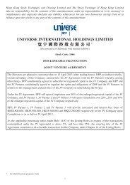 Discloseable Transaction Joint Venture Agreement - Universe ...