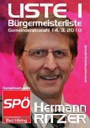 Gemeinderatswahl 14. 3. 220010 - SPÖ Bad Häring