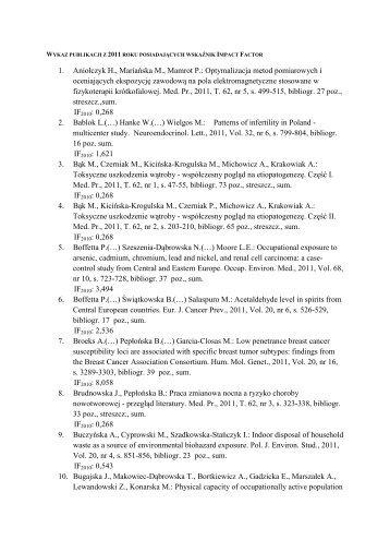 Wykaz publikacji z IF 2011 - Instytut Medycyny Pracy im. prof. J. Nofera