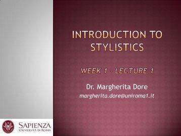 Introduction to Stylistics Week 1.pdf - Lettere e Filosofia