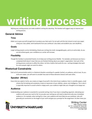 Writing Process - University of Maryland, Baltimore