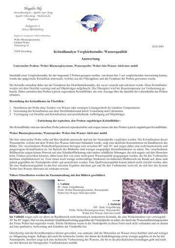 Wasserqualität Auswertung Hagalis AG - Weberbio.de