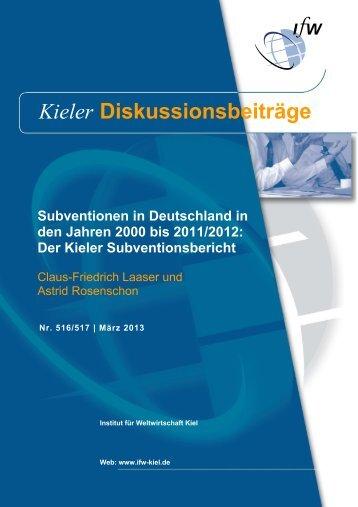 Subventionen in Deutschland in den Jahren 2000 bis 2011/2012