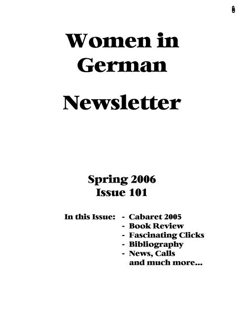 Women In German Newsletter 101 Coalition Of Women In German