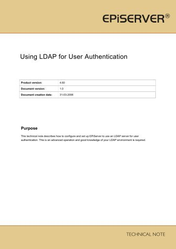 Using LDAP for User Authentication.pdf - EPiServer World