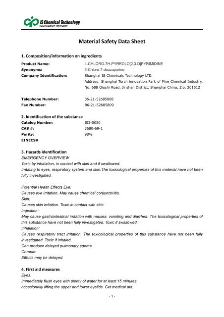 MSDS [PDF] - IS Chemical Technology