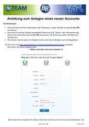 Anleitung zum Anlegen eines neuen Accounts - Das BB-Team