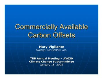 Commercially Available Carbon Offsets