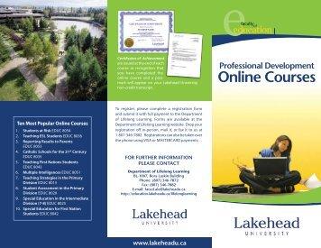 Professional Development Online Course Brochure - Lakehead ...