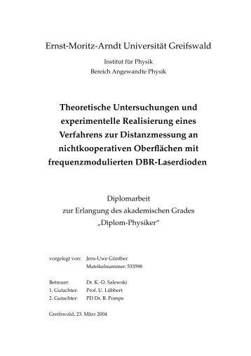 Theoretische Untersuchungen und experimentelle Realisierung ...