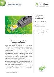 PR-Text Überspannungsschutz steckbar installiert - Wieland Electric