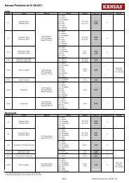 Kansas Preisliste ab 01.08.2011
