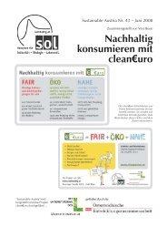 Nachhaltig konsumieren mit clean¤uro - SOL - Menschen für ...