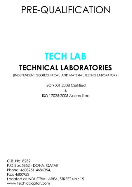 pre qualification document - TECH LAB (Technical Laboratories)