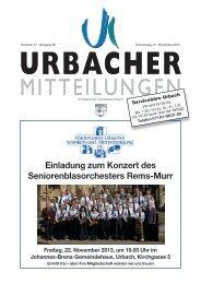 Urbacher Mitteilungsblatt vom 21.11.2013 - Gemeinde Urbach