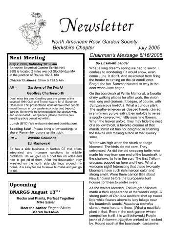 North American Rock Garden Society Berkshire Chapter July 2005 ...