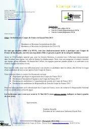 F.F.C.K – Olympiade 2013-2016 Objet : Invitation aux Coupes de ...