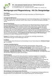 Reinigungs-und Pflegeanleitung - Hit Clic Designbeläge - IPC