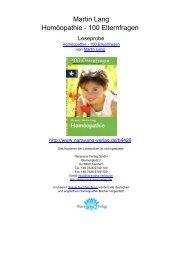 Martin Lang Homöopathie - 100 Elternfragen