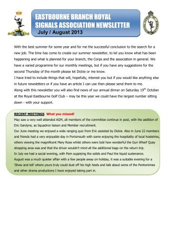 Jul/Aug 2013 - Royal Signals Association