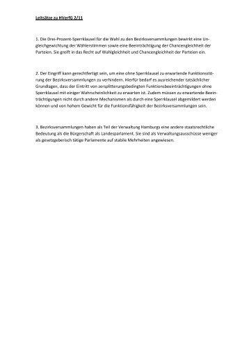 Leitsätze zu HVerfG 2/11 1. Die Drei-Prozent-Sperrklausel für die ...