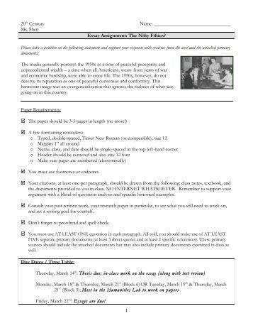 Nifty Fifties Essay - Lincoln-Sudbury Regional High School