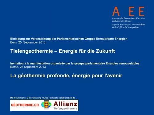 Tiefengeothermie – Energie für die Zukunft La ... - AEE SUISSE