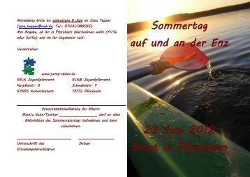 Sommertag auf und an der Enz 23.Juni 2012 Start in Pforzheim