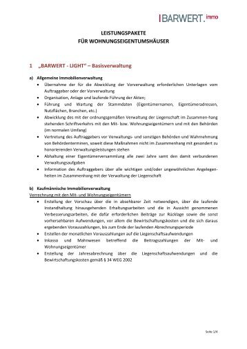 Leistungspakete für Wohnungseigentum - Barwert Immo