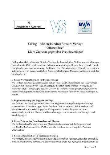 Fairlag – Aktionsbündnis für faire Verlage Offener Brief: Klare ...
