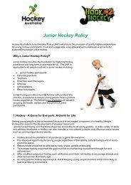 Junior Sports Policy - Hockey Australia