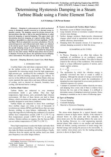 Determining Hysteresis Damping in a Steam Turbine Blade Using a ...