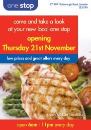 your Narborough Road, Leciester Opening ... - One Stop Stores