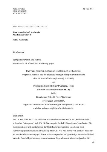 Strafantrag - Freies-netz-sued.net
