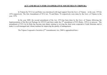 act and rule's for co-operative societies in tripura - Government of ...