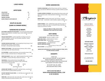 to view our Take Out Menu - Morgan's American Grill