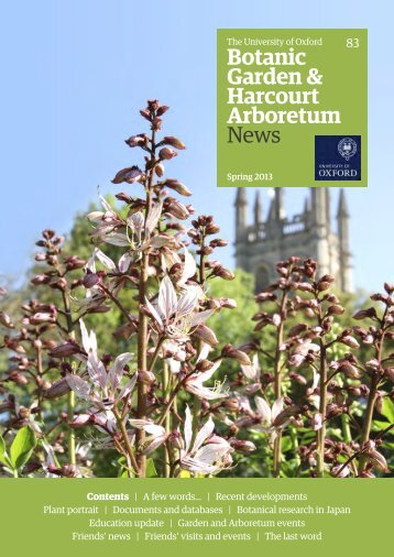 Spring 2013 - Botanic Garden - University of Oxford