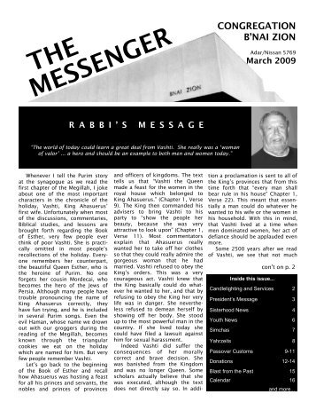 THE MESSENGER - Congregation B'nai Zion