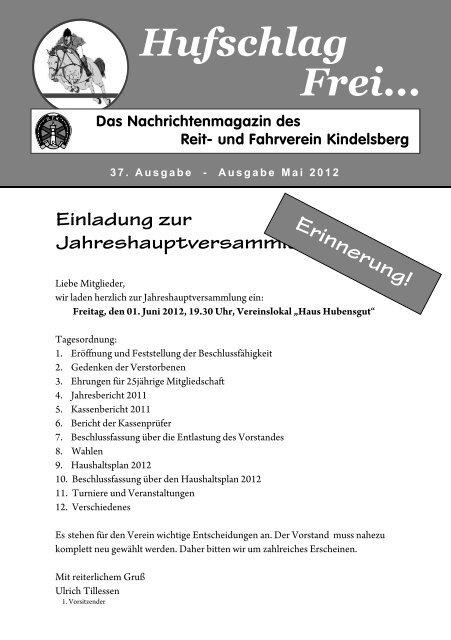 Hufschlag Frei... - Reit- und Fahrverein Kindelsberg eV
