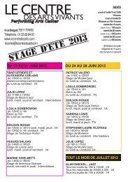Stage d'été du 17 juin au 27 juillet 2013 Programmation des ...