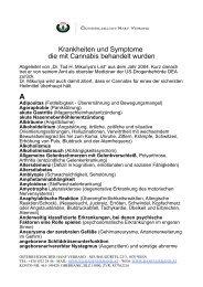 Über 250 Krankeiten und Symptome bei denen Cannabis hilft (PDF)