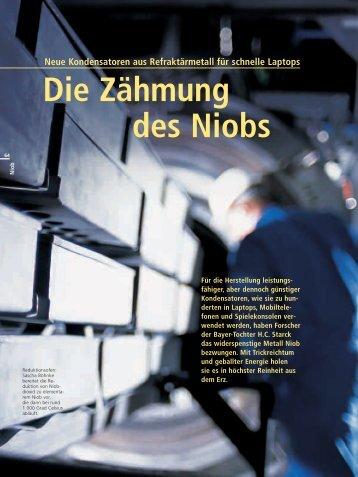 Bayer/H.C. Starck 2004 über Niob statt Tantal