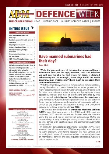 Have manned submarines had their day? - Australian Defence ...