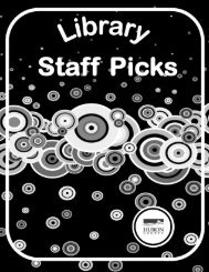 Library staff picks: titles selected by staff of the Huron County Library ...