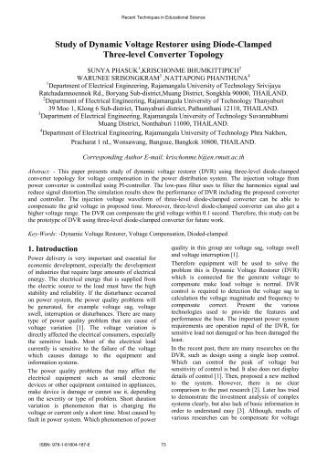 Study of Dynamic Voltage Restorer using Diode ... - Wseas.us