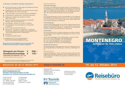 MONTENEGRO - Reisebüro der VR-Bank Uckermark-Randow eG